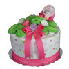 One Tier Diaper Cake (pink): Click for a close-up.